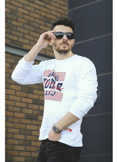 Oksit Louis Newyork City Fitted Sweatshirt Beyaz